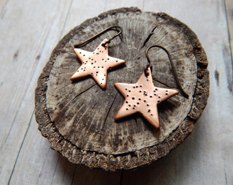 Star earrings in copper with niobium hypoallergenic ear wires