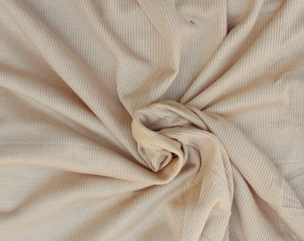 SOLD OUT Modal Spandex 2x1 Rib Fabric by Yard - Beige 4 Way Stretch 7/16