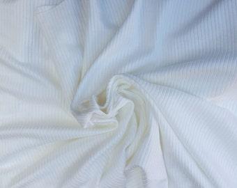Off White Rib 2x2 Knit Flat Back Supima Cotton Rayon Fabric by Yard