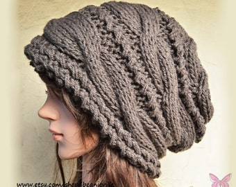 Slouchy cable style beanie hat - DEEP TAUPE / Chocolat (Or Choose Color)- chunky - baggy slouch - Medium thickness & extra warm