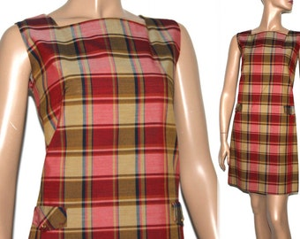 Vintage 1960s Dress// Plaid// Mini Dress//Party Dress//60s Dress//