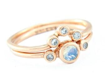 Moonstone and Diamond Wedding Set 14k Rose Gold Natural Moonstone Diamond Gold Ring V Shape Diamond Wedding Band Moonstone Ring