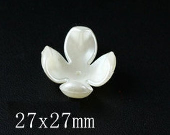 10 Flat Back Pearl Button Shell Button (27x27mm) TTX-003