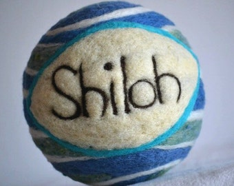 Felted Wool Ball, Personalized Gift, Baby Shower, new baby gift, sensory toy ball, sound ball, lavender scent, art ball, heirloom keep sake