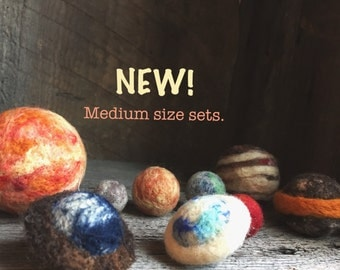 Medium Size Solar Systems, Storage bag. Our Solar System, set of 9. The sun and planets. Needle felted Wool. Ready to go  by wooly topic