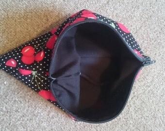 """Handmade Lined Zipper Pouch Polka Dot Cherry 8"""" x 7"""""""