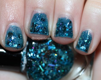Depths by Polish Me, Royalty! 5-toxin free, cruelty free, handmade blue-teal holographic glitterbomb nail polish