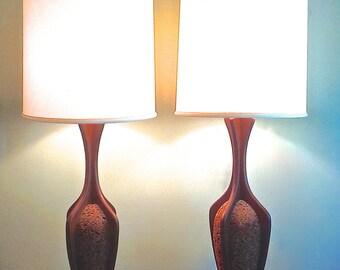33% OFF Mid Century Danish Modern Cork And Teak Lamps W Original White  Satin Shades