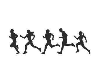 Marathon Runners Embroidery Design