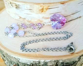 Purple Crystal heart necklace - Swarovski heart necklace - purple heart - lavender - swarovski crystal - one of a kind - heart jewelry