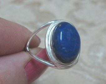 Lapis Lazuli  Sterling Silver Ring Size 8