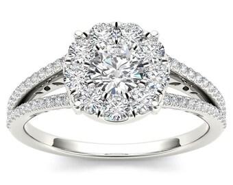 10Kt White Gold Diamond 1 Ct Engagement Ring