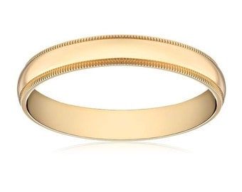 14Kt Yellow Gold Milgrain Wedding Band 4mm