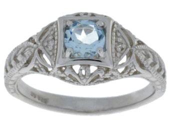 Aquamarine & Diamond Round Ring .925 Sterling Silver