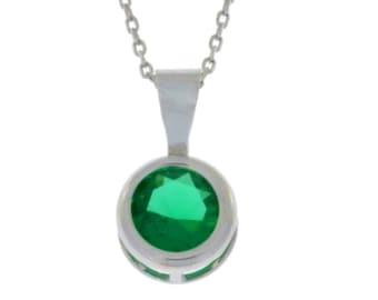 Emerald Round Bezel Pendant .925 Sterling Silver