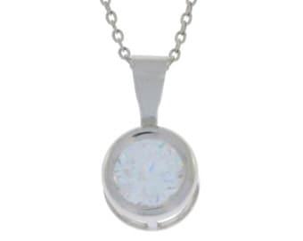 White Topaz Round Bezel Pendant .925 Sterling Silver