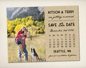 """Save The Date Magnet, Modern Rustic Magnet, Wedding Save The Date, Kraft Save The Date Magnet, 4.25"""" x 5.5"""" Photo Magnets (STDM2)"""