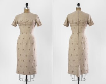 vintage 1950s eyelet wiggle dress | 50s tan beige dress | xs small