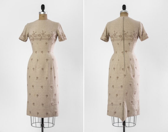 vintage 1950s eyelet wiggle dress | 50s tan beige dress | xs small