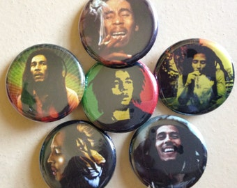 "Bob Marley pin back buttons 1.25"" set of 6"