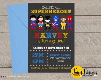 SUPERHERO INVITATION, SUPERHERO Printable Invitation, Superhero Invitations, Superhero Boy and Girl, Superhero Assorted Boy Girl Birthday