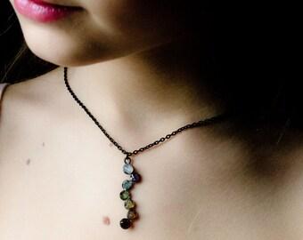 Chakra necklace Silver oxidized necklace handmade necklace colorful necklace Crystal Necklace Bohemian necklace boho necklace