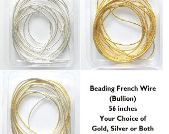 "Beading French Wire (Bullion) 56 inches Your Choice of Gold, Silver or Both (28"" Gold and 28"" Silver)"