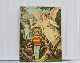 Vintage Paint by Numbers Painting - Retro Guardian Angel with Child Waterfall Art