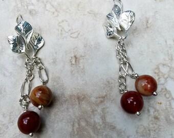 Autumn Berries Earrings, Leaves and Berries Earrings, Fall jewelry