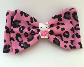 Pink Leopard Hello Kitty Bow READY TO SHIP