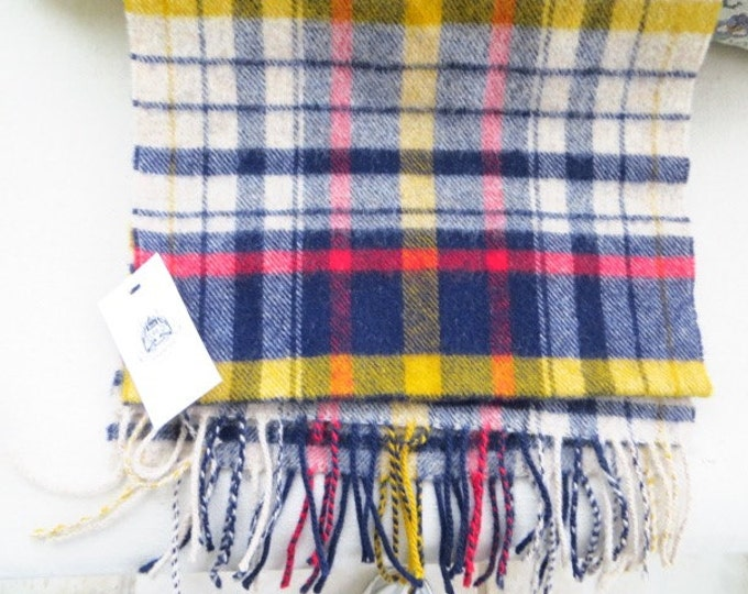Harrods of London Scarf Lambswool Plaid Man Woman NWT