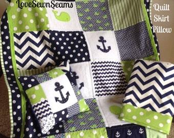 NAVY & GREEN NAUTICAL Quilt/ Crib Skirt / Pillow