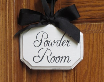 French Country Chic/Rustic Glam Doorknob Hanging Powder Room Sign