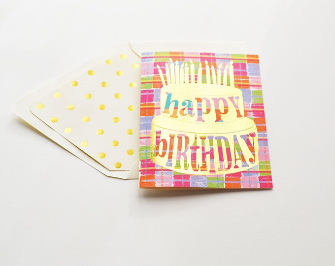 Happy Birthday Card Plaid Cake