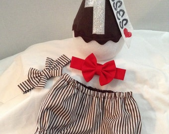 BOYS CAKE SMASH, hershey's kiss birthday outfit, photo prop, boys clothing