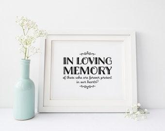 "INSTANT DOWNLOAD... In Loving Memory Sign 5x7 or 8x10"" DIY Wedding Signage Printable... Black"