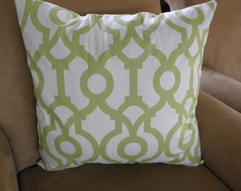 Big Sale !!! Bright Kiwi and White Colors Pillow Covers 20x20