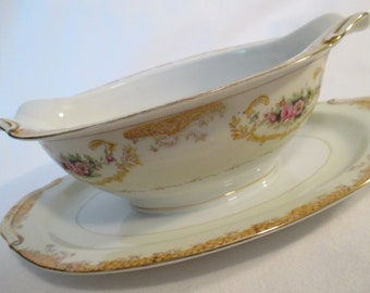 Vintage Tullerie China Oval Gravy Boat with Attached Underplate