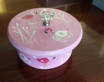 Round Wooden Box with Lid - Painted Flamingoes on Top and Sides