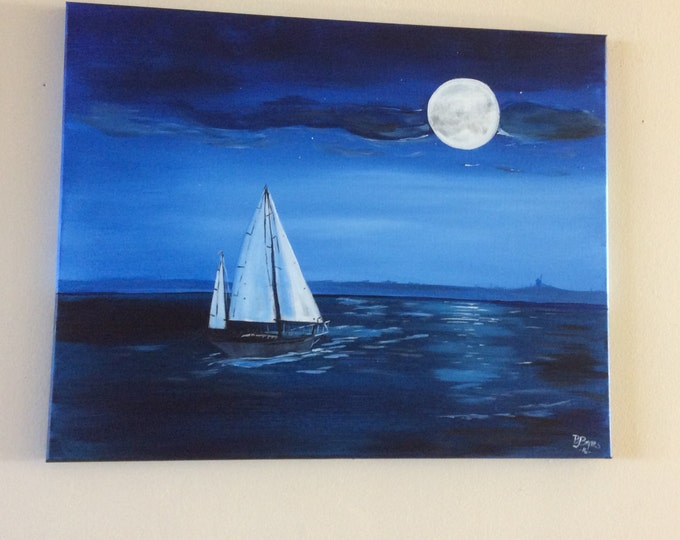 Moonlight Sailing - Acrylic Painting on Canvas