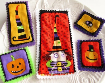 Halloween Fabric Appliques Ghost applique Pumpkin applique Funny witch applique Fall Embellishments Scrapbook Craft kit Supplies -Set of 5