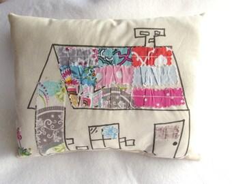 House pillow, Fabric scrap pillow, Drawn art pillow, Appliqued pillow, Novelty pillow, New home pillow, Happy pillow, Ruffle pillow