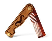 Personalized Mustache Comb - Handmade Folding Pocket Wood Comb Made from Bamboo and Tortoise Shell Acrylic