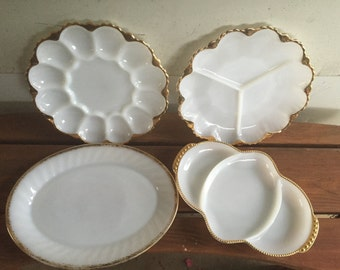 Vintage Fire King Swirl Milk Glass Gold Trim Serving Plates Trays Platters Instant Collection 3 Part Dish Egg Plate Retro Kitchen 4 PC SET