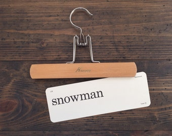 vintage flash card • snowman | Dick and Jane flashcard