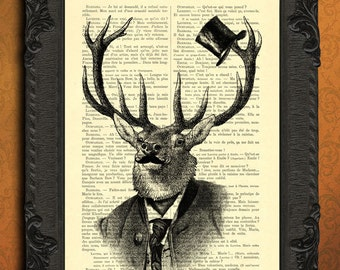 Deer moustache top hat, stag head print, deer portrait