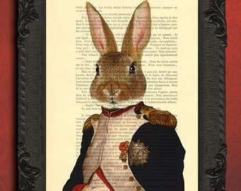 rabbit print animal print napoleon bonaparte bunny print, wall art hare poster gift for him dad