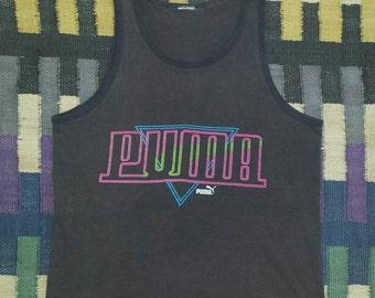 Vintage 90s Puma Tank Top Black Cotton Neon Logo Surf Skate T shirt 90's T-shirt Beach Muscle Tee Men Women Work out Soft Thin Surfer Skater