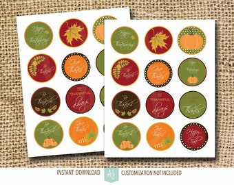 Thanksgiving Tags or Stickers-Printable Fall Decoration-Customization NOT Included