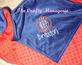 Fireman Baby Blanket, Personalized Baby Boy Blanket, Personalized Fire Fighter Minky Blanket, Fireman Minky Blanket